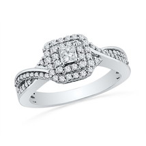 10kt White Gold Princess Diamond Solitaire Bridal Wedding Engagement Ring 1/2 - £582.02 GBP