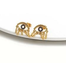 Crystal Evil Eye Sparkle Post Earrings Zara Styled Cute Vintage Brushed ... - $21.34