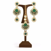 Green Indian Traditional Gold Plated Earrings Headband Fashion Party Jew... - $14.84
