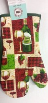 "1 Jumbo Printed Oven Mitt, WINE & GRAPES, (13"") green back by CV - $7.91"