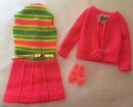Vintage Barbie Team Ups #1855 MOD Hot Pink Knit Dress, Jacket, Shoes  18... - $48.00