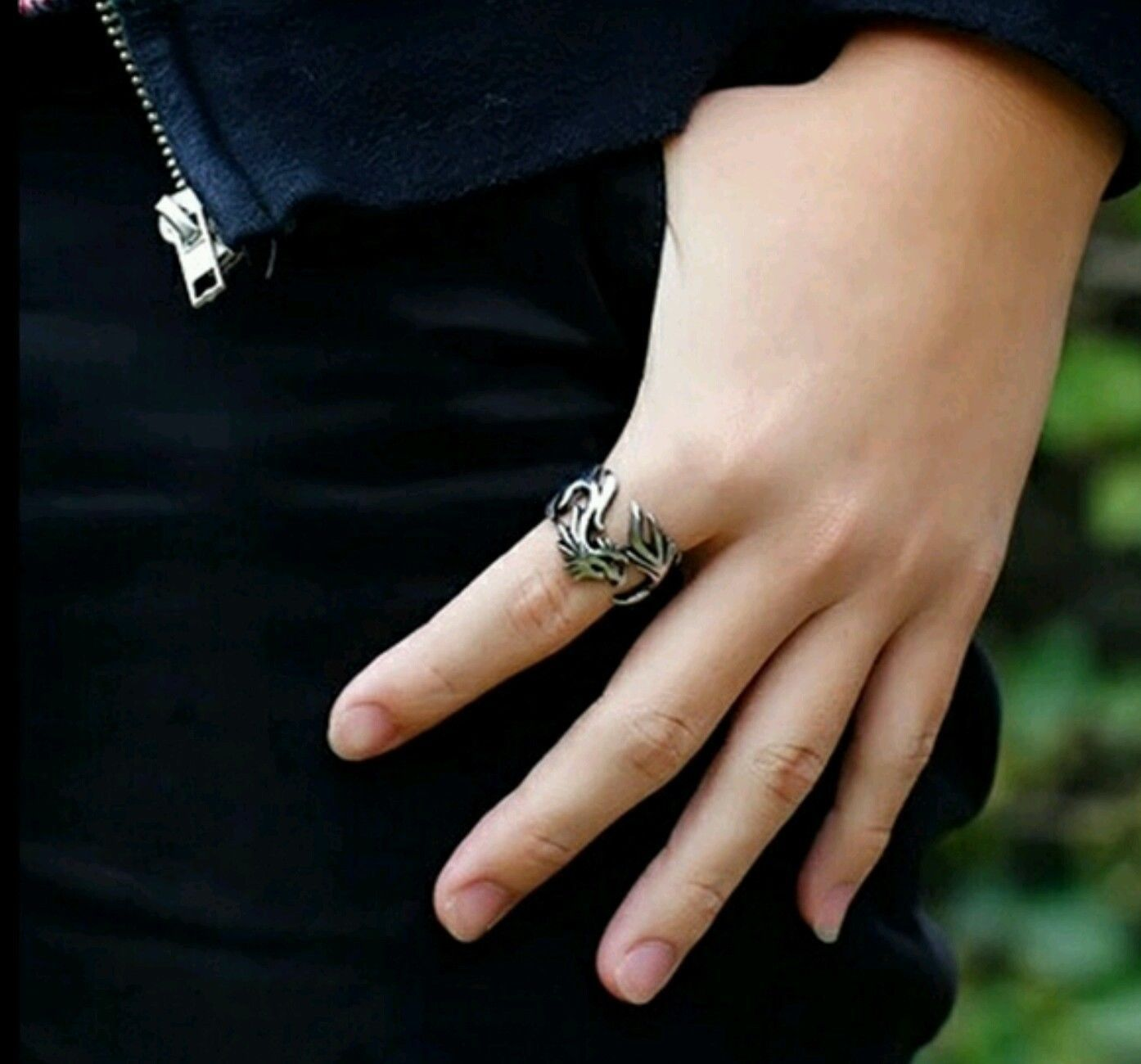 Dragon Evil Eye Ring Male Finger Ring Dragon Pattern Punk Gothic Biker