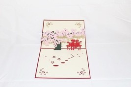 Love Couple under pink flower tree Pop Up Greeting Card Handmade Annive... - $4.99