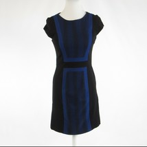 Black blue herringbone BCBG MAX AZRIA stretch cap sleeve sheath dress 6 - $24.99
