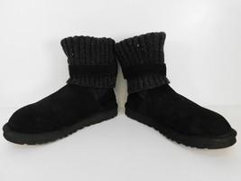 UGG Australia Cambridge Women Size 9 Black Suede Knit Shaft 1003175 Boots - $45.53