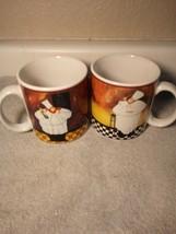 (2)  SAKURA  COFFEE MUGS / CUPS  AL DENTE--CHEF / WAITER---FREE SHIP--VGC - $22.67