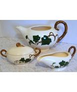 Metlox Poppytrail California Ivy Creamer & Sugar Bowl With Lid & Tea Pot... - $29.70