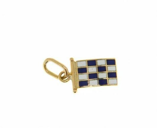 18K YELLOW GOLD NAUTICAL GLAZED FLAG LETTER N PENDANT CHARM MEDAL ENAMEL ITALY