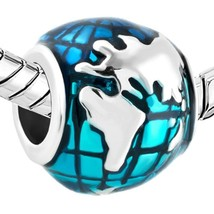World Map Ocean Blue Earth Globe Charm Bead 925 Sterling Silver Pandora ... - £7.48 GBP