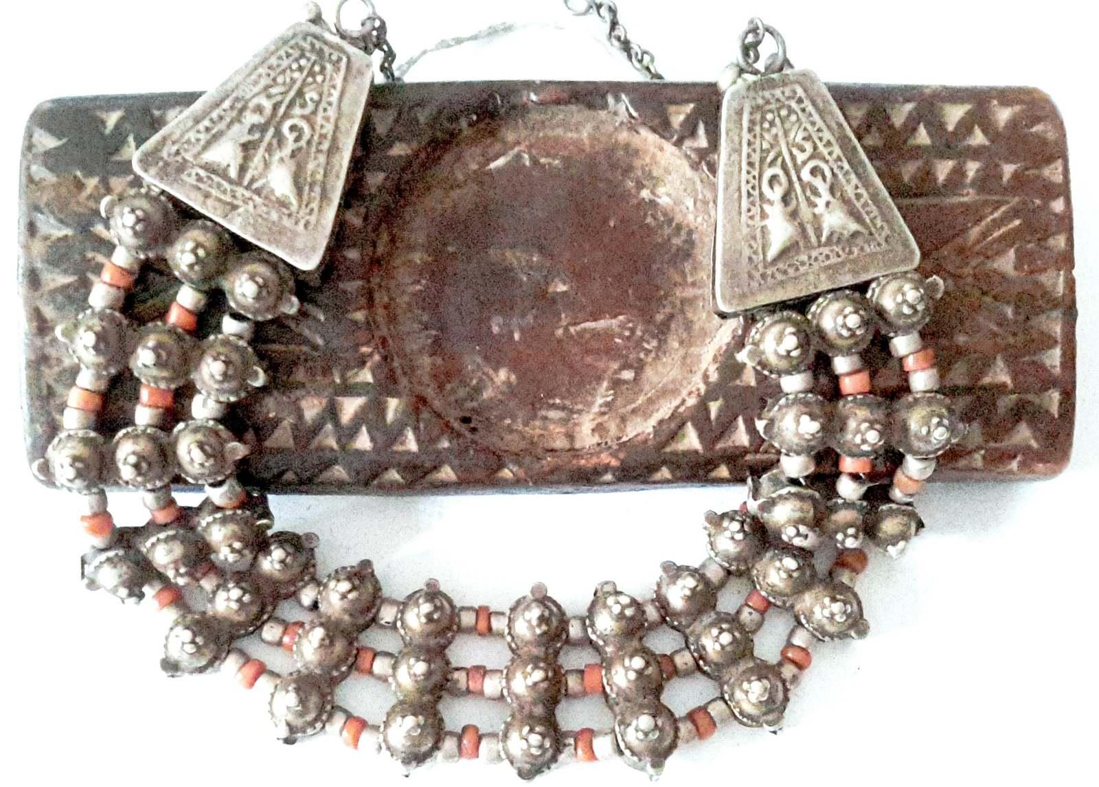 Antique Bedouin silver coral Choker Necklace Yemen ,Lazim Yemen , Massive Ethnic - $495.00