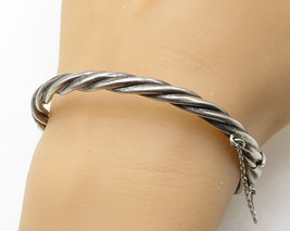 925 Sterling Silver - Vintage Rope Twist Bangle Bracelet - B3914 - $49.76