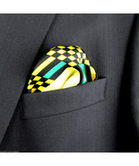 Men's Pocket Square Handkerchief Wedding Fashion Dress Checks Silk Yello... - $19.75