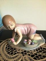 Lladro Girl kneeling w/Tulip # 5041 Mint HTF Retired - $525.00