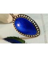 Vtg Sterling Silver Cobalt Blue  Guilloche Enamel Demitasse Spoon Caviar... - $122.76