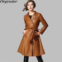 New 2018 Autumn Winter Long Double breasted Female Leather Coat Plus Siz... - $76.90