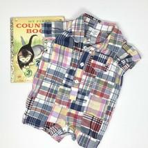 Baby GAP Boys Patchwork Plaid Romper 0-3 Months MADRAS Cotton INFANT - $13.29