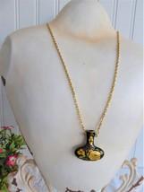Green Cloisonne Vase Pendant Necklace Hollow Vase Gold Plated Chain 1970s - $30.00