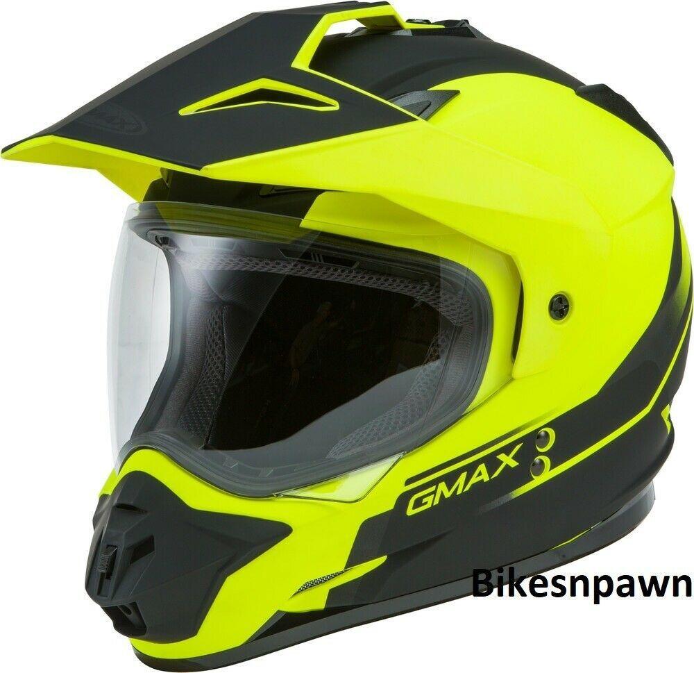 New S GMax GM-11 Scud Matte Black/Hi Viz Dual Sport Adventure Helmet DOT