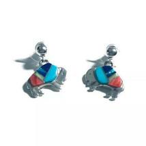 Sterling Silver Buffalo Post Earrings Zuni Multi Stone Inlay NEW - €32,54 EUR