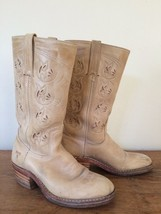 FRYE Austin Leather Boots Cowboy Flower Cut Outs Light Tan Pink 77036 7 M Women - $1.795,00 MXN