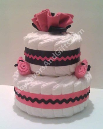 Centerpieces hot pink and black diaper cake