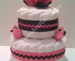 Centerpieces hot pink and black diaper cake thumb155 crop