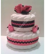 Hot Pink And Black Diaper Cake - $55.00