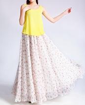 Summer MAXI Floral SKIRT Women White Flower Maxi Chiffon Skirt Long Beach Skirt image 3