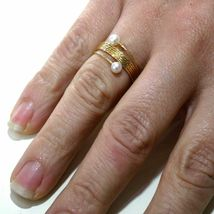 Yellow Gold Ring Or White Or Pink 18K, Multi Wires Elastic with Pearls, image 3