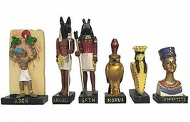 "Ancient Egypt Egyptian God 11 Figurines Set Resin Statue size 5"" high An... - $37.28"