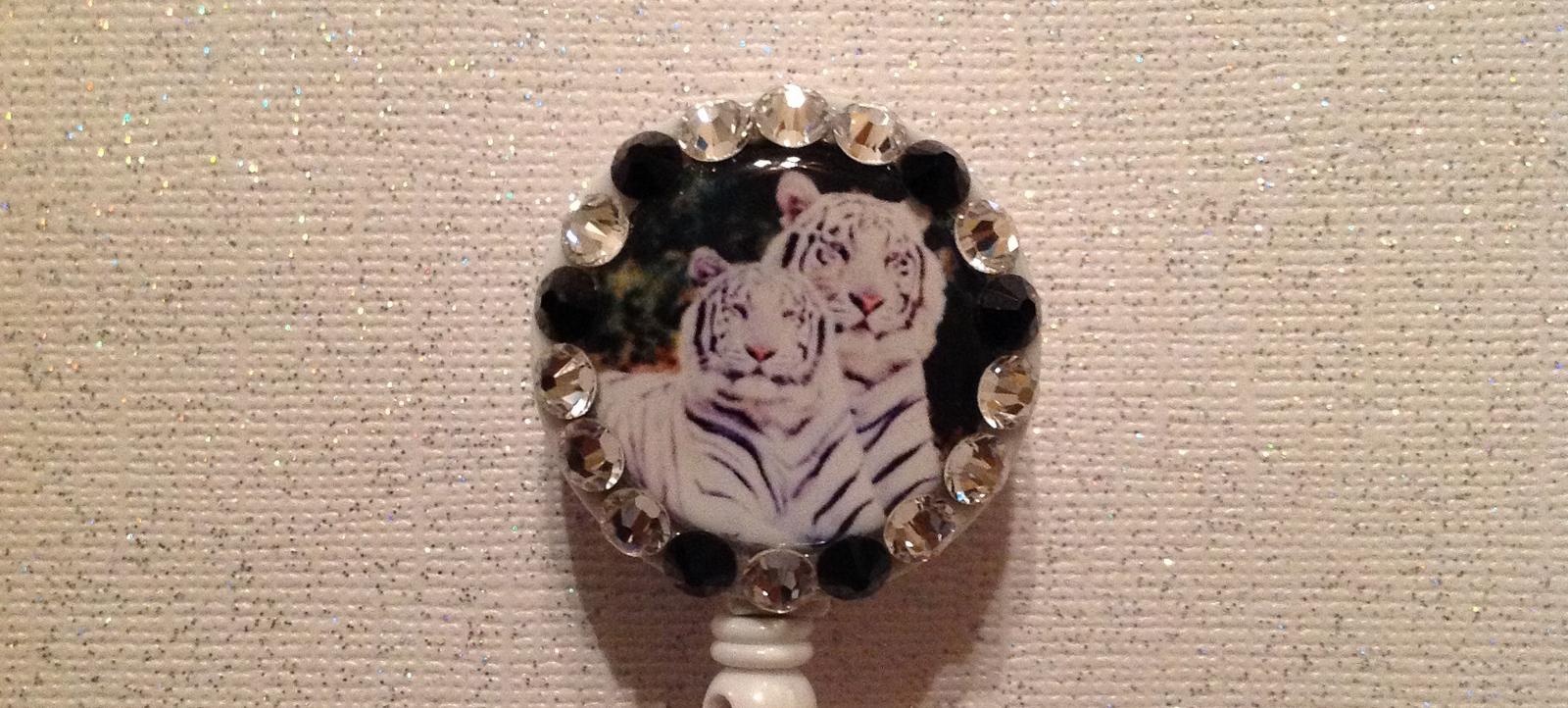 White Tiger Badge Reel Id Holder Swarovski white black alligator clip new