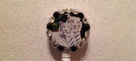 White Tiger Badge Reel Id Holder Swarovski white black alligator clip new - $9.95