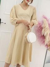 Maternity's Dress V Neck Long Sleeve Solid Color Ladylike Dress image 2