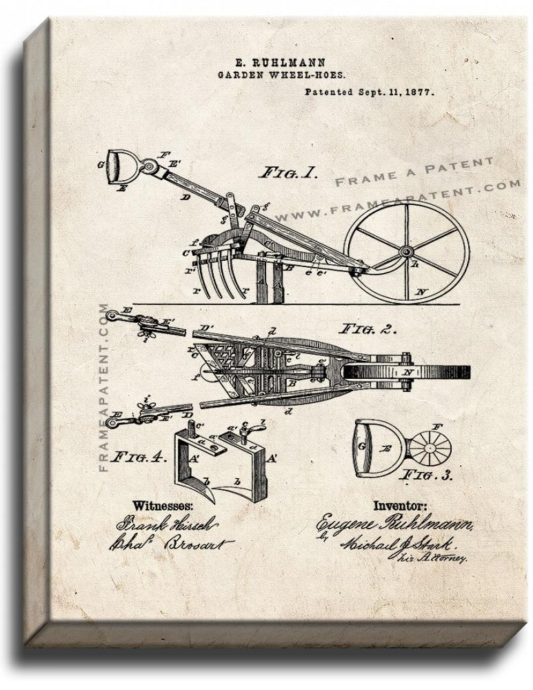 Primary image for Garden Wheel-Hoes Patent Print Old Look on Canvas