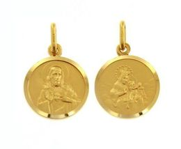 18K YELLOW GOLD SCAPULAR OUR LADY OF MOUNT CARMEL SACRED HEART MEDAL ITALY MADE image 6