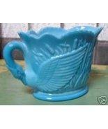 Old BLUE MILK GLASS CREAMER MILK PITCHER SWAN HANDLE - $140.00