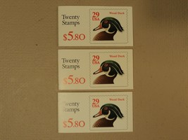 USPS Scott 2485a 29c Wood Duck Lot Of 3 Books 60 Stamps 1991 Mint Booklet - $37.82