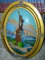 Statue of Liberty Reverse Painting WWI Signed Eglomise