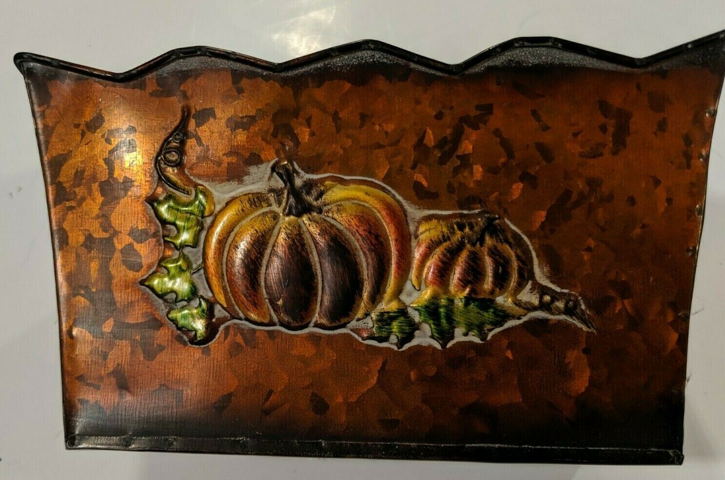 EMBOSSED RECTANGULAR SCALLOPED TIN PLANTERS -PUMPKINS WITH VINES  3 COLORS NWT