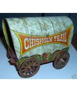 VINTAGE TIN CHILD LITHO COVERED WAGON ENAMELED US METAL TOY CO CHISHOLM ... - $118.56