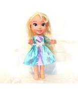 Disney Frozen Elsa Doll 13 inch Moving Arm Leg wearing Dress Blonde Hair - $14.84