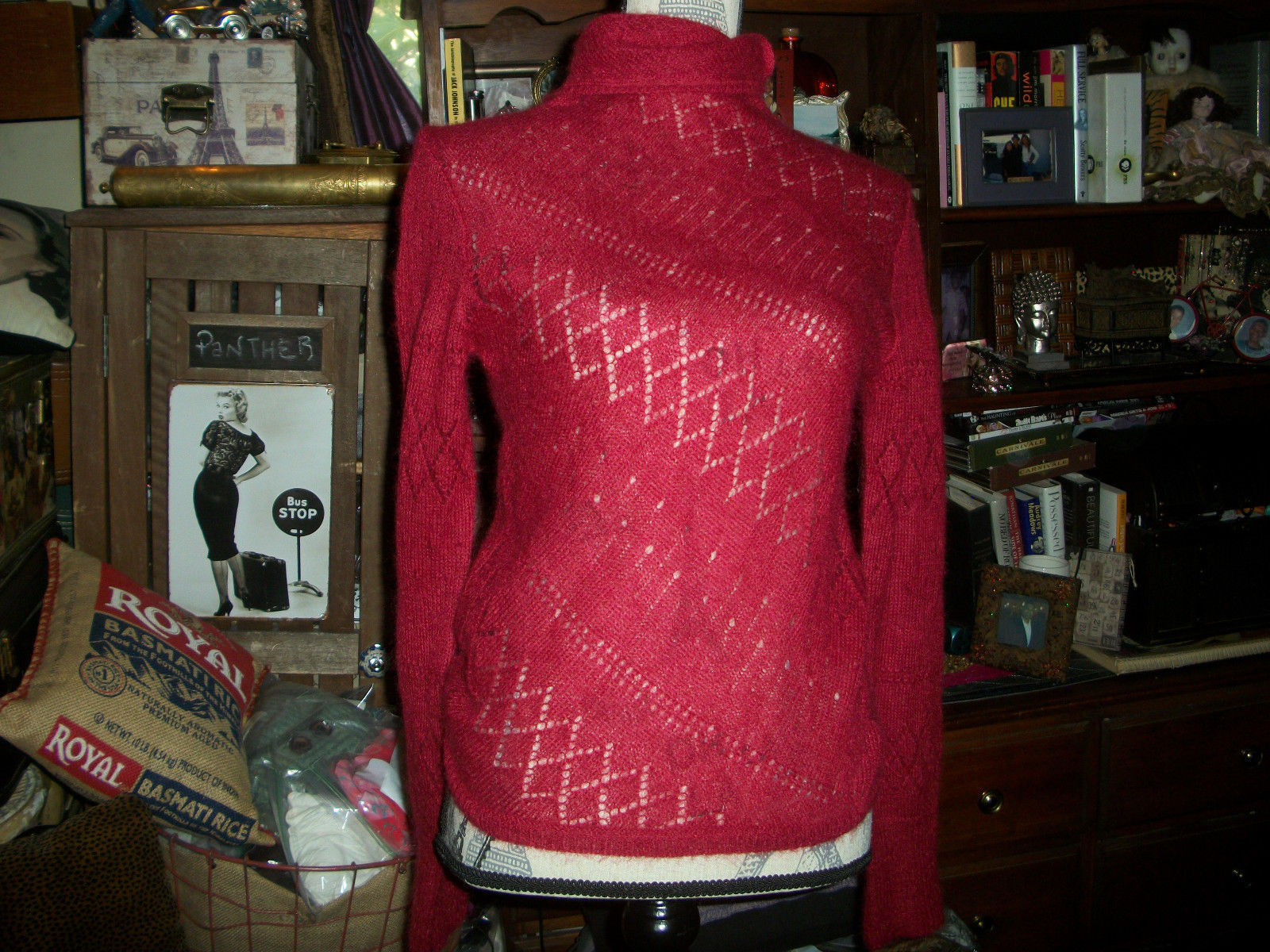 Primary image for DKNY Lady In Red Mohair Blend Turtleneck Sweater Size P/S