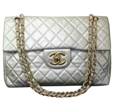 AUTHENTIC CHANEL Metallic Lambskin Quilted Maxi... - $2,499.99