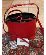 HENRI BENDEL SURREY RED LEATHER BUCKET CROSSBODY PURSE NEW - $247.50