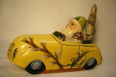 Vaillancourt Folk Art Spring Santa in Car with Rabbit personally signed by Judi