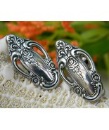 Silverware Flatware Earrings Rose Pattern Vintage Clip Ons - $34.95