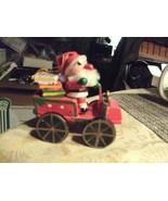 "20#4   Christmas Wooden Santa Claus in his car 3 1/4"" T Christmas Tree O... - $5.53"