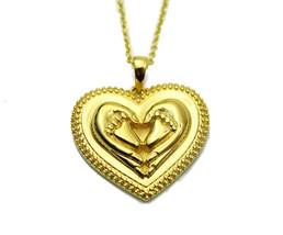 Mother Child Heart Necklace Gold Tone Baby Feet - £19.78 GBP