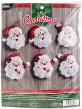 """Bucilla Felt Ornaments Applique Kit 4.5""""X6"""" Set of 6-Santa - $25.27"""