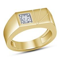 1Ct Round Cut Diamond Men's Solitaire Engagement Pinky Ring 14K Yellow G... - $89.99